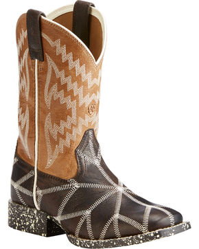 Ariat Boys' Brown Phantom Tycoon Western Boots - Square Toe , Dark Brown, hi-res