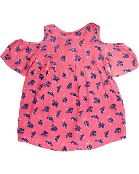 Self Esteem Girls' Floral Cold Shoulder Top and Necklace, Pink, hi-res