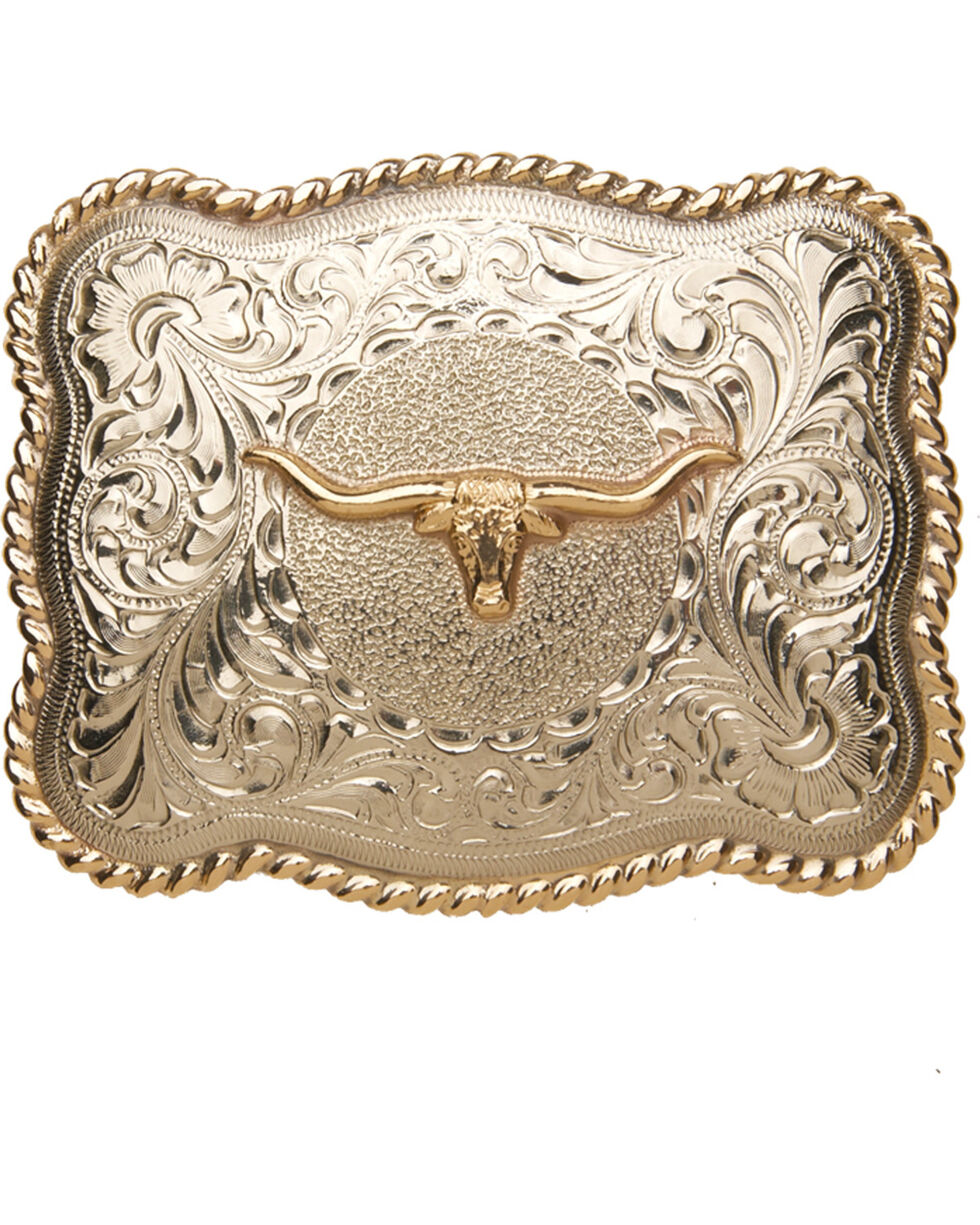 Cody James® Men's Long Horn Belt Buckle, Two Tone, hi-res