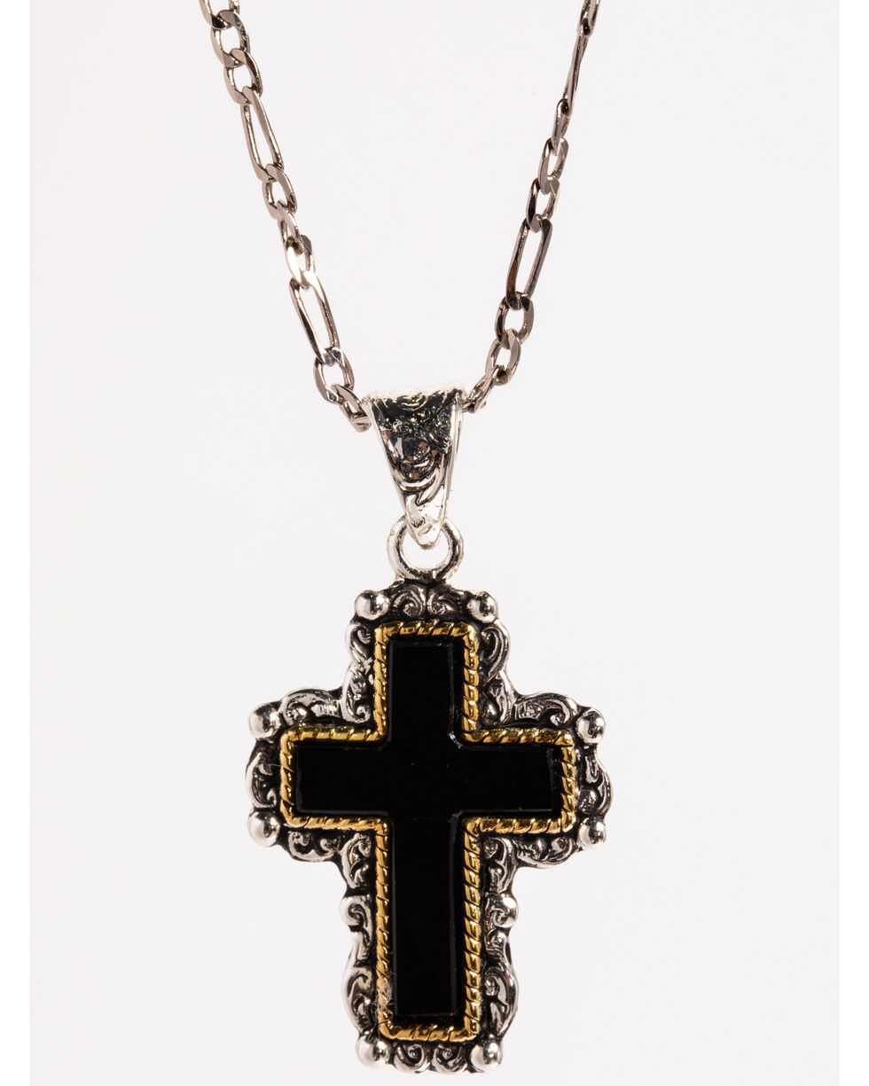 Shyanne Women's Black Cross Necklace , Silver, hi-res