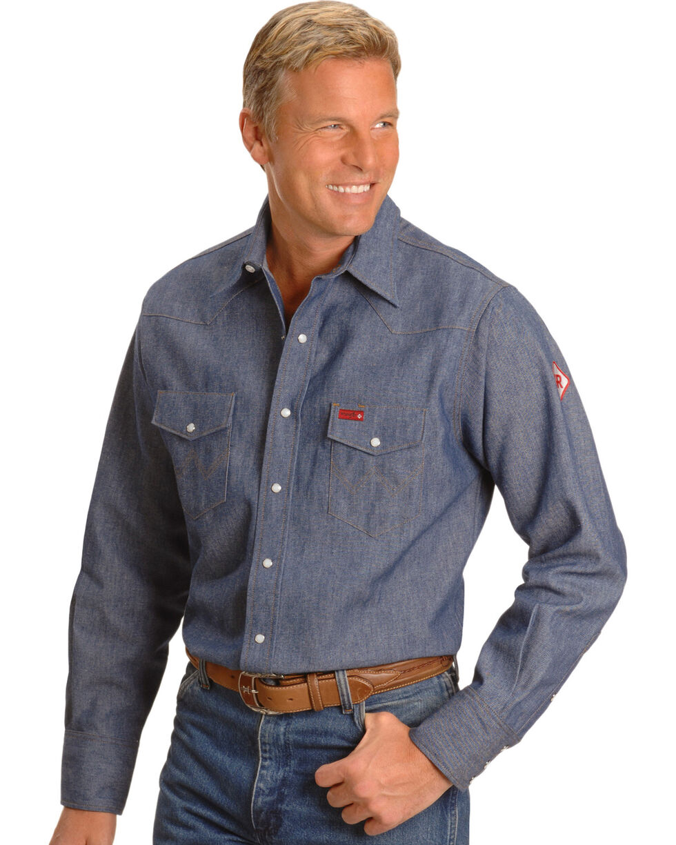 Wrangler Men's Work Fire Resistant Shirts, Denim, hi-res