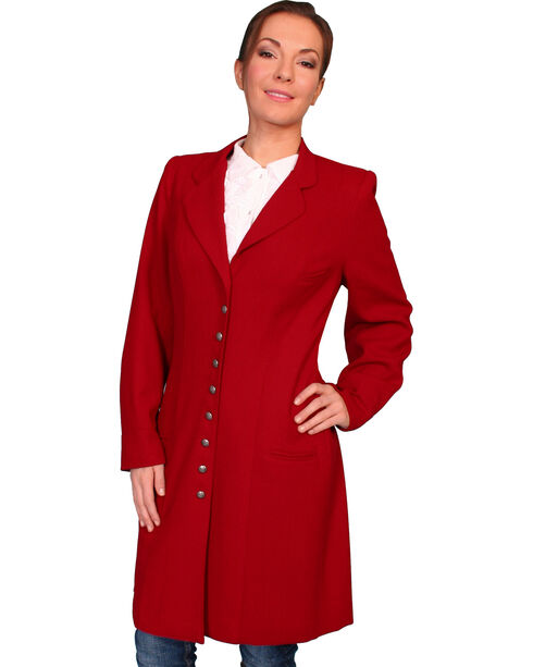 WahMaker by Scully Women's Crepe Wool Frock Coat, Dark Red, hi-res