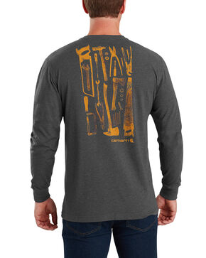 Carhartt Men's Maddock Tool Graphic Long-Sleeve T-Shirt , Charcoal, hi-res