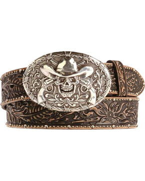 Tony Lama Men's Tombstone Western Belt, Black, hi-res