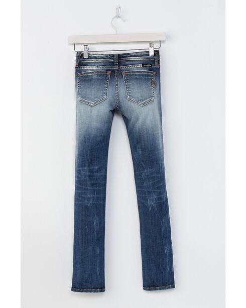 Miss Me Girls' Indigo Plain Distressed Jeans - Skinny , Indigo, hi-res