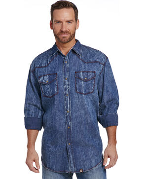 Cowboy Up Men's Vintage Wash Denim Snap Shirt , Indigo, hi-res