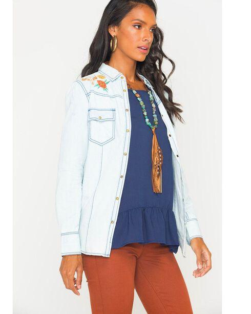 Ryan Michael Women's Bleach Indigo Embroidered Chambray Shirt, Indigo, hi-res
