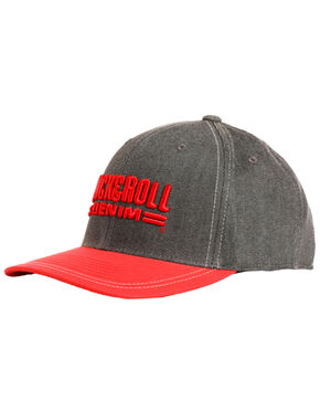 Rock & Roll Denim Men's Charcoal 3D Logo Cap , Red, hi-res