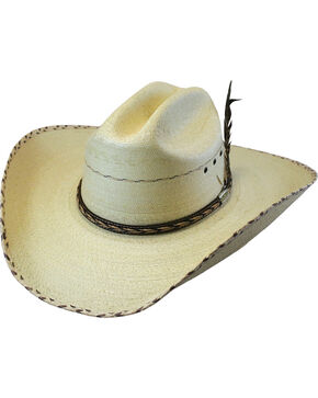 Larry Mahan Men's 30X Logan Palm Straw Hat , Natural, hi-res