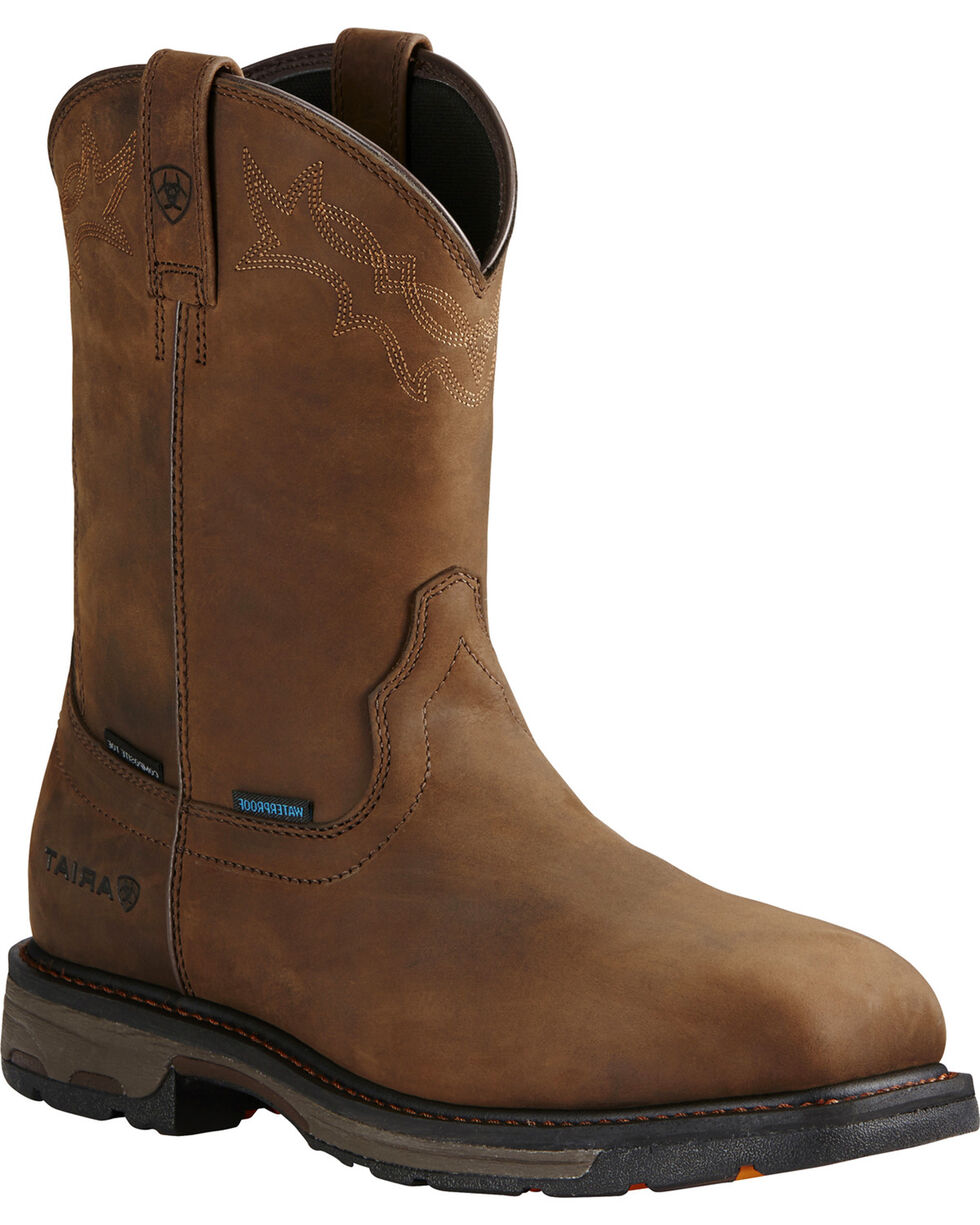 Ariat Men's WorkHog® Comppsite Toe H2O Western Work Boots, Brown, hi-res