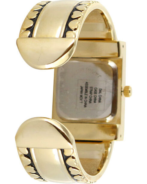 Shyanne Women's Gold Heart Cuff Watch , Gold, hi-res