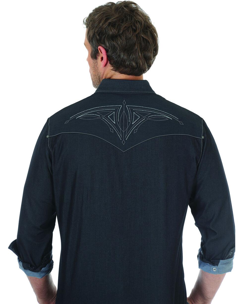 Wrangler Rock 47 Men's Black Embroidered Long Sleeve Snap Shirt - Big & Tall, Black, hi-res