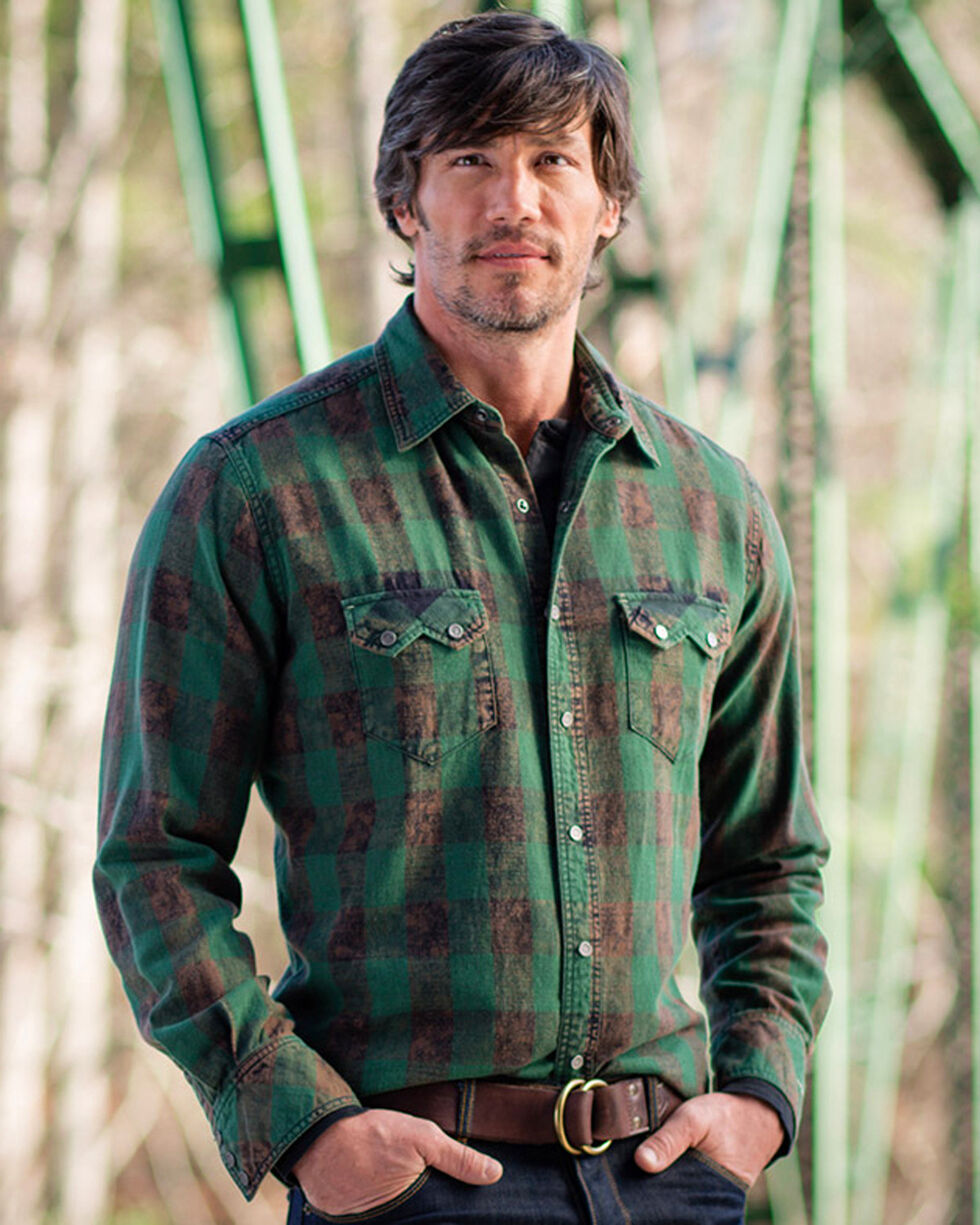Ryan Michael Men's Ranger Distressed Buffalo Check Shirt , Green, hi-res