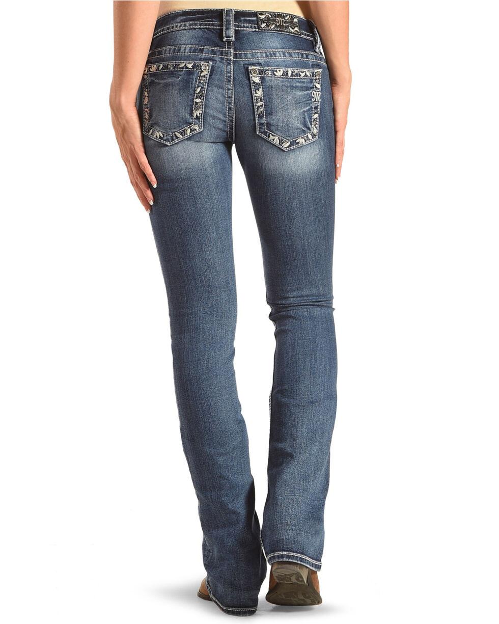 Miss Me Women's Floral Border Boot Cut Jeans , Blue, hi-res