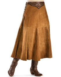 Kobler Leather Women's Choctaw Tooled Leather Lace-Up Suede Skirt, , hi-res
