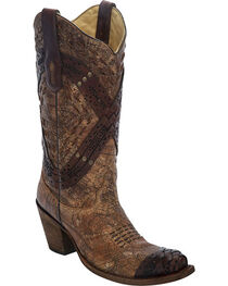 Corral Women's Braided Straps & Studs Western Boots, , hi-res