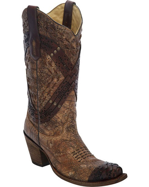Corral Women's Braided Straps & Studs Western Boots, Cognac, hi-res