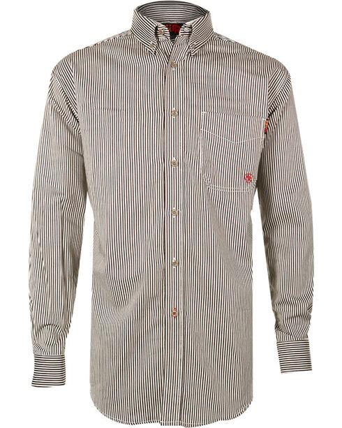 Ariat Men's Long Sleeve FR Work Shirt, Brown, hi-res