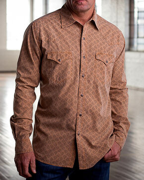Ryan Michael Men's Saffron Wood Cut Tencel Shirt , Lt Brown, hi-res