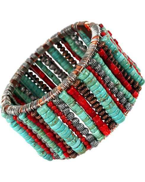 Treska Cowtown Beaded Bangle Bracelet , Turquoise, hi-res