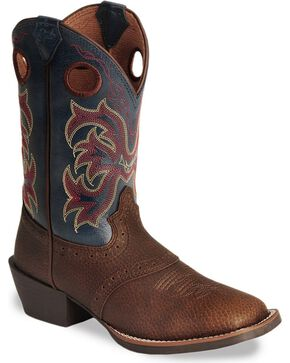 Justin Kid's Stampede Western Boots, Dark Brown, hi-res