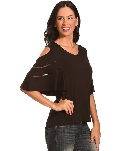 New Direction Cold Shoulder V-Neck Top , Black, hi-res