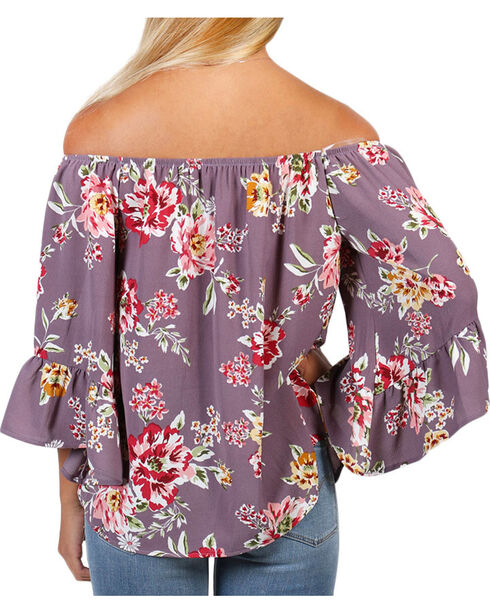 Ces Femme Women's Floral Off The Shoulder Long Sleeve Top, Mauve, hi-res