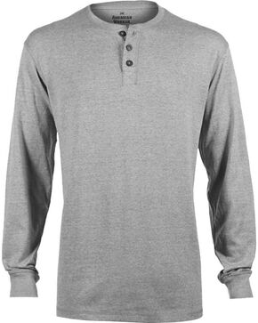 American Worker Men's Solid Heather Henley, Hthr Grey, hi-res