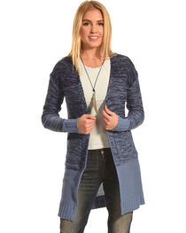 Derek Heart Women's Blue Marled Long Cardigan, , hi-res