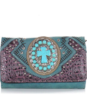 Savana Women's Turquoise Concho Cross Wallet, Turquoise, hi-res