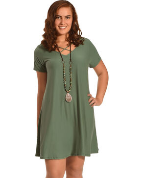 Derek Heart Women's Criss Cross Neck Trapeze Dress - Plus, Olive, hi-res
