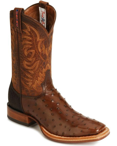 Tony Lama Full Quill Ostrich Stockman Boots, Coffee, hi-res