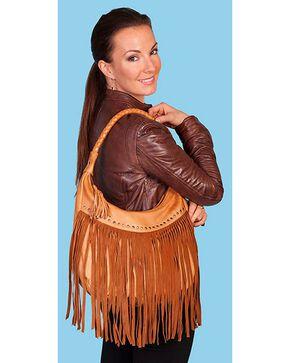 Scully Women's Long Fringe Leather Handbag, Tan, hi-res