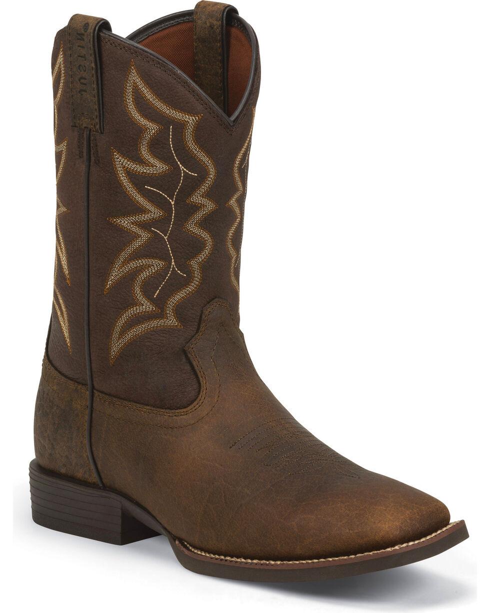Justin Men's Stampede Square Toe Western Boots, Dark Brown, hi-res