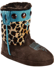 Blazin Roxx Girls' Cross Leopard Print Bootie Slippers, , hi-res