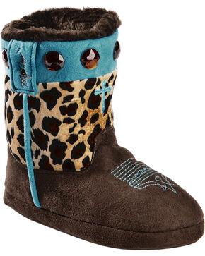 Blazin Roxx Girls' Cross Leopard Print Bootie Slippers, Brown, hi-res