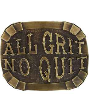 "Cody James® Men's ""All Grit No Quit"" Belt Buckle, Silver, hi-res"