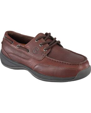 Rockport Works Sailing Club Canoe Oxford Work Shoes - Steel Toe, Brown, hi-res