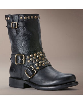 Frye Women's Jenna Studded Harness Short Boots - Round Toe, Black, hi-res