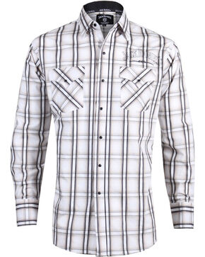 Ely Cattleman Men's Jack Daniel's Plaid Long Sleeve Western Shirt, Tan, hi-res