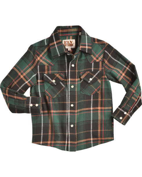 Ely Cattleman Boys' Green Dyed Western Flannel Shirt , Green, hi-res