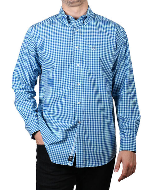 Ariat Men's Mankins Long Sleeve Performance Shirt, Blue, hi-res