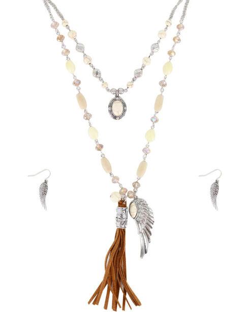 Shyanne® Women's Angel Wing Jewelry Set, Silver, hi-res