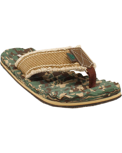 Double Barrel Canvas Camo Men's Flip Flops, Mossy Oak, hi-res