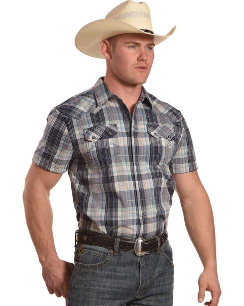 Moonshine Spirit Men's Tepic Plaid Short Sleeve Western Shirt, Grey, hi-res