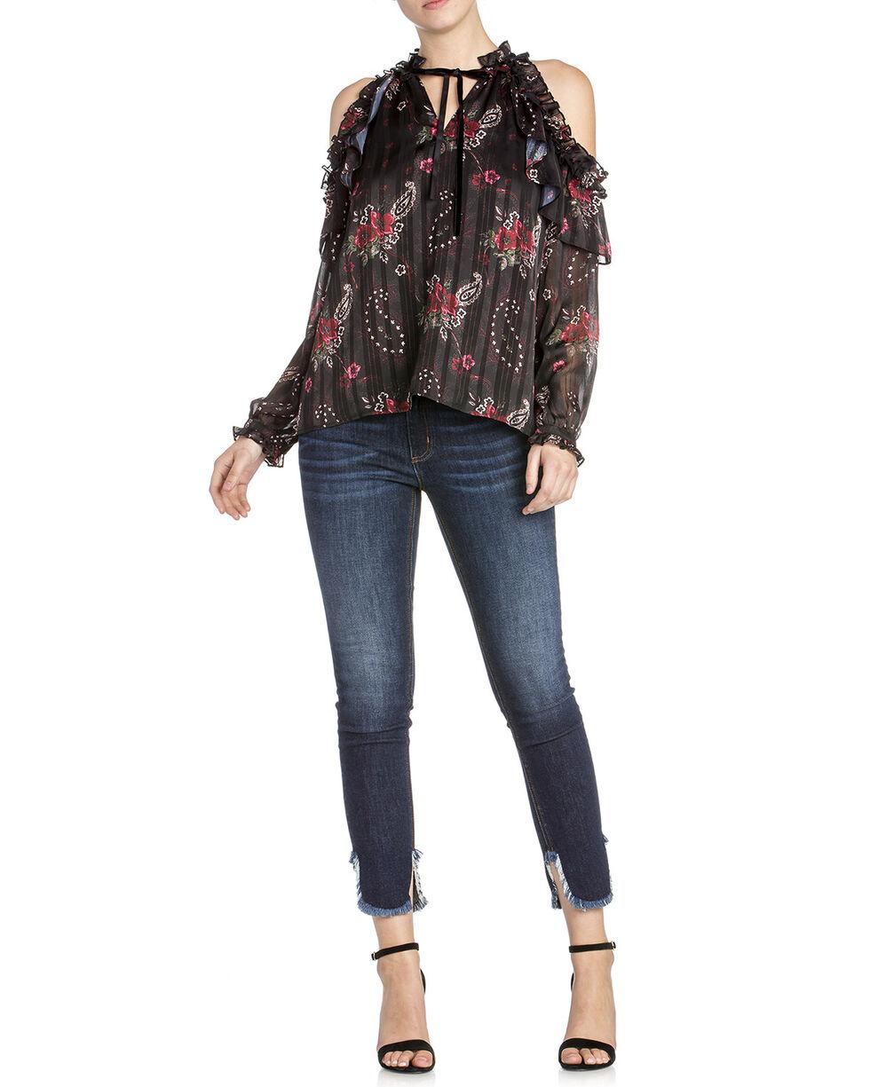 Miss Me Women's Cold Shoulder Floral Print Ruffle Top, Black, hi-res