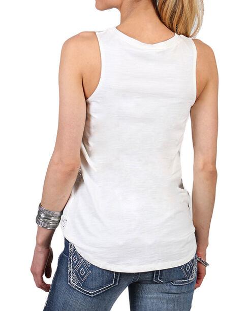 Shyanne Women's Stripe Lace Tank Top, Peach, hi-res