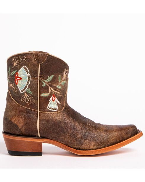 Shyanne® Women's Floral Embroidered Western Booties, Brown, hi-res