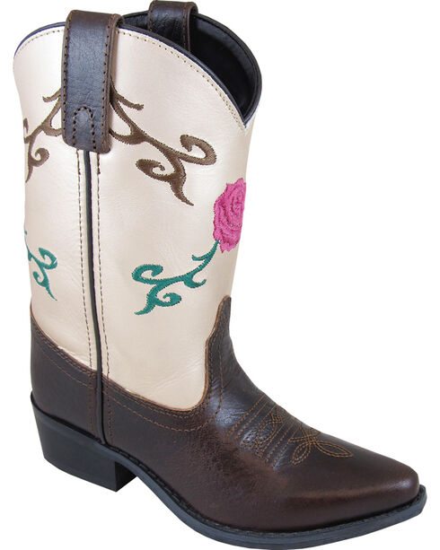 Smoky Mountain Girls' Lucky Girl Western Boot - Snip Toe, Brown, hi-res