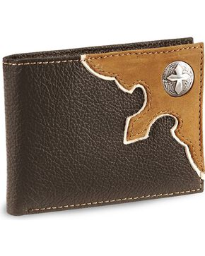 Nocona Cross Concho Bi-Fold Leather Wallet, Brown, hi-res